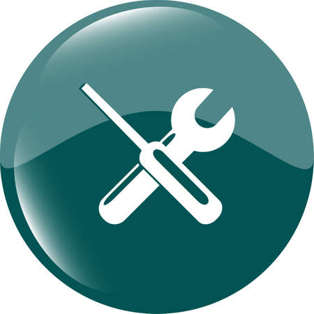 press nuts: adjustable wrench and screwdriver icon web button isolated on white