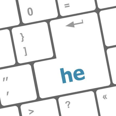 he: he word on computer pc keyboard key
