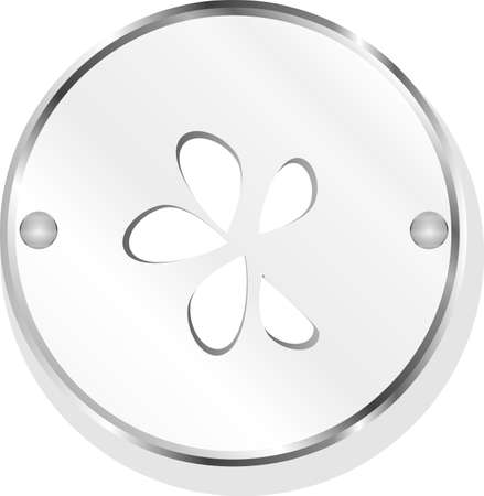 leaf on icon button isolated on white photo