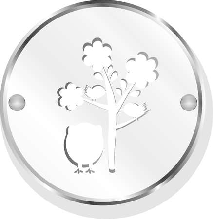 button with owl and tree, isolated on white photo