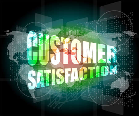 customer satisfaction word on business digital screen photo