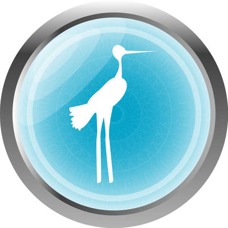 Stork on web icon button isolated on white photo