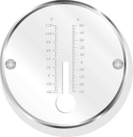 Thermometer icon button isolated on white photo