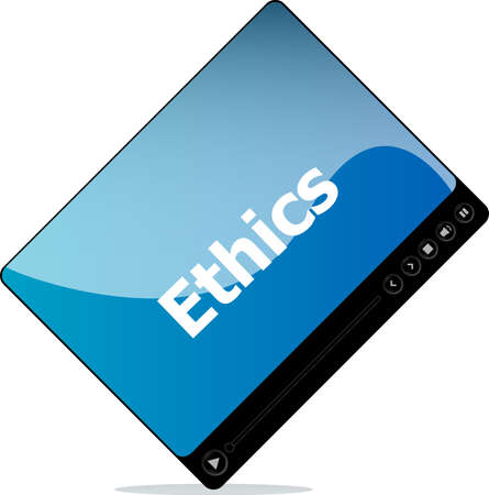 Video movie media player with ethics word on it photo