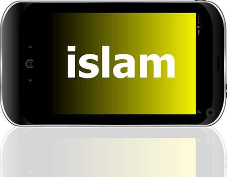 islam word on smart mobile phone, social concept photo