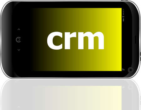 crm word on smart mobile phone, business concept photo