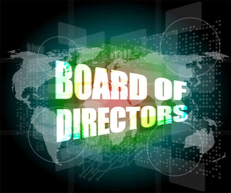 board of directors words on digital screen background with world map photo