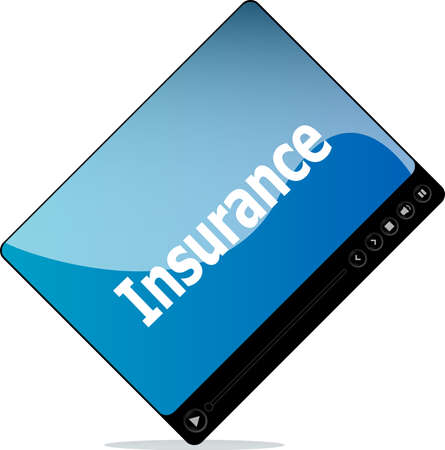 Video media player for web with insurance word photo
