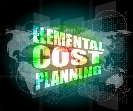 elemental: elemental cost planning word on business digital touch screen Stock Photo