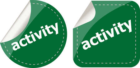 activity stickers set, icon button isolated on white photo