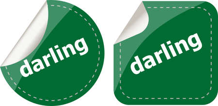 the darling: darling word stickers web button set, label, icon Stock Photo