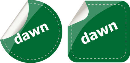 dawn word stickers web button set, label, icon photo