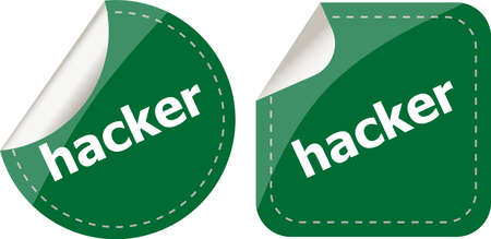hacker stickers set on white, icon button isolated on white photo