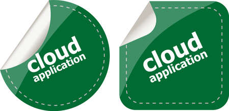 computering: cloud application stickers label tag set isolated