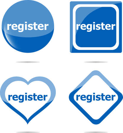 register stickers set isolated on white, icon button photo