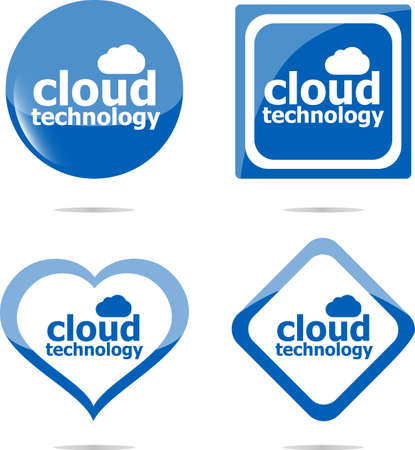 Cloud technology icon, label stickers set isolated on white