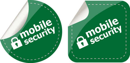 mobile security stickers label tag set isolated on white photo