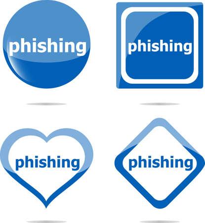 phishing: phishing word with lock on stickers set, web icon Stock Photo