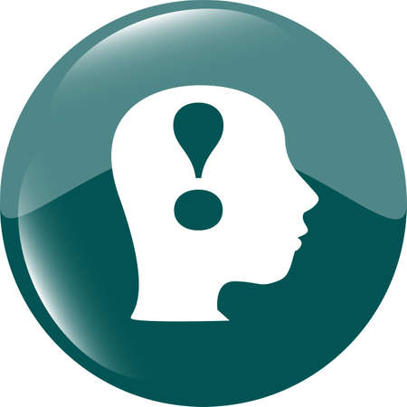 Human head with exclamation mark icon, web button photo
