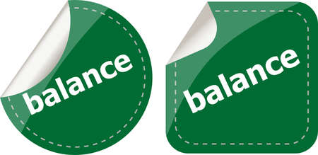 balance word on stickers button set, label, business concept photo