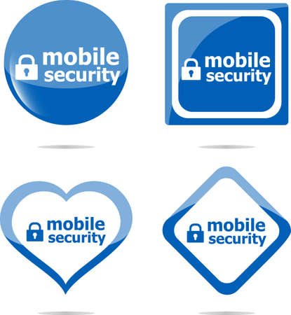 mobile security stickers label tag set, web icon photo