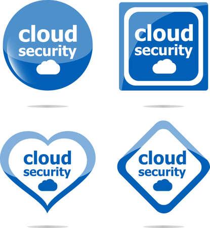 cloud security black stickers label tag set photo