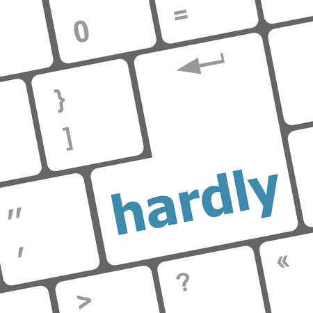 hardly: computer keyboard with words hardly on enter button