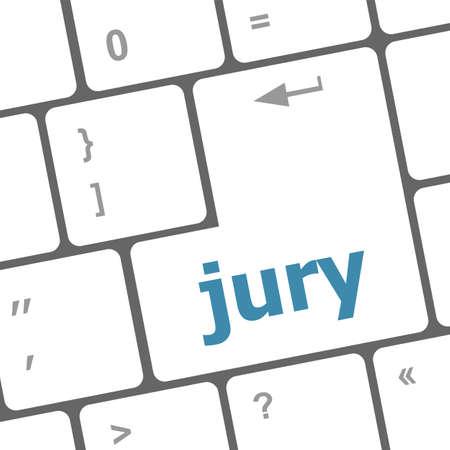 vocational high school: jury word on computer keyboard pc key
