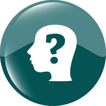 unsolvable: Human head with question mark symbol, web icon