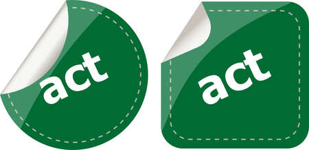act stickers set, icon button isolated on white photo