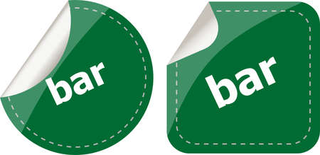 bar word on stickers button set, business label photo