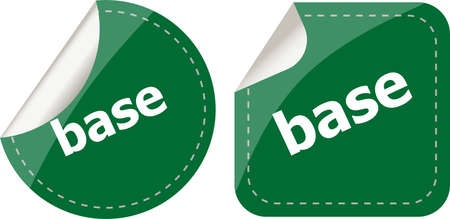 base word on stickers button set, business label photo