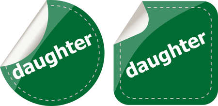 daughter word stickers web button set, label, icon photo