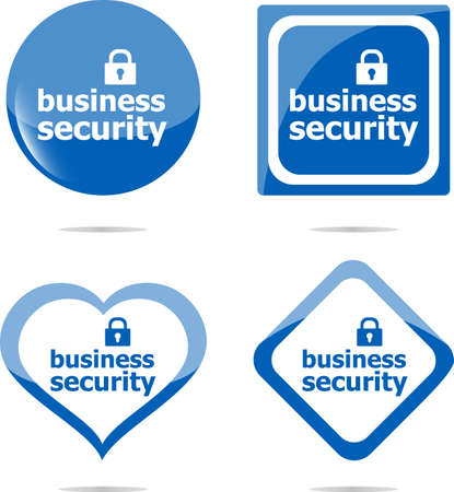 business security stickers label tag set isolated on white photo