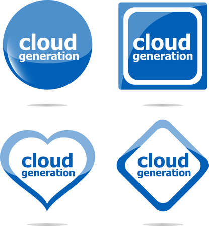 Cloud generation icon, label stickers set isolated on white photo
