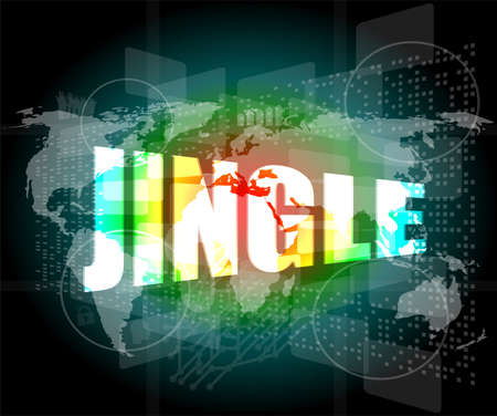 jingle word on digital screen background with world map