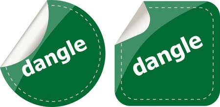 dangle: dangle word on stickers web button set, label, icon