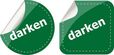 verdunkeln: verdunkeln Wort Aufkleber Web Button-Set-Label