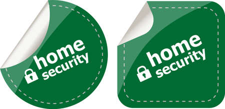 proxy: home security with lock on black stickers set Stock Photo