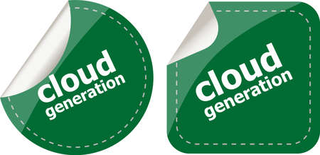 cloud based: Cloud technology icon, label stickers set isolated