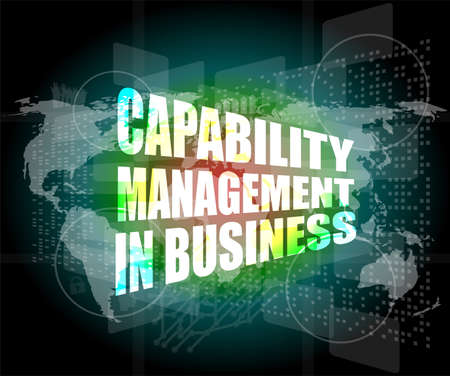 communication capability: capability management in business words on touch screen interface Stock Photo