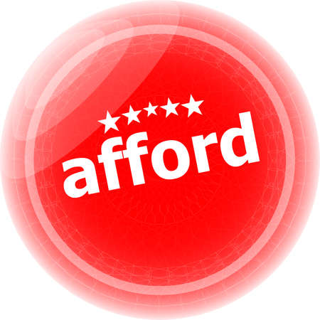 afford: afford word red stickers, icon button isolated on white