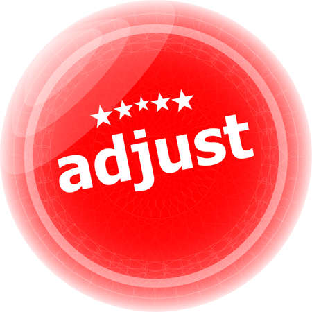 adjust: adjust word red stickers, icon button, business concept