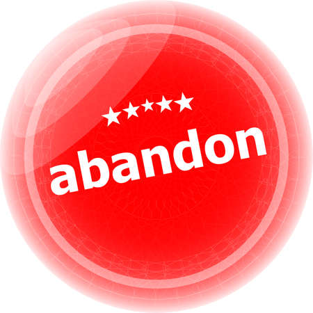 abandon word stickers icon button isolated on white