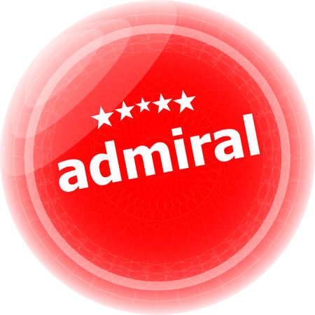 admiral: admiral word red stickers, icon button, business concept Stock Photo