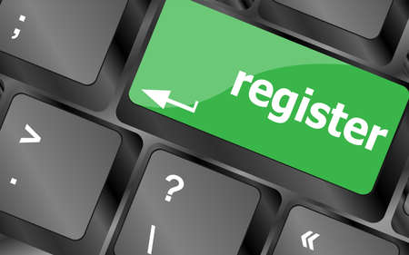 to attend: The word Register on a green computer keyboard key to illustrate e-commerce or signing up entering to join a new website, store, or attend an event