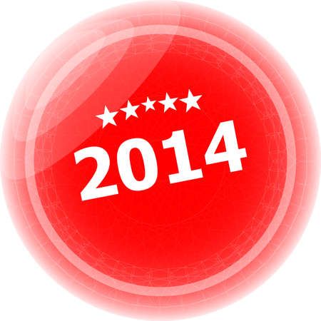2014 on red stickers button, business label photo