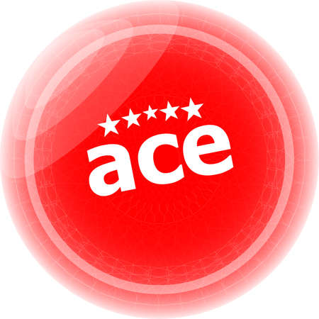 ace red stickers, icon button isolated on white photo