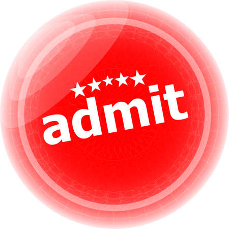 admit: admit word red stickers, icon button, business concept