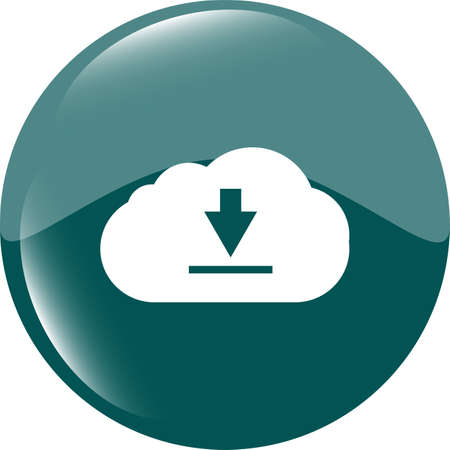 abstract cloud icon. Upload button. Load symbol. Round button photo